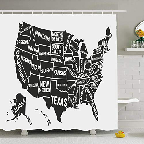 - Ahawoso Shower Curtain 72x72 Inches Dc United States America Map Abstract Florida USA Massachusetts Texas Alabama Alaska Ny Waterproof Polyester Fabric Set with Hooks