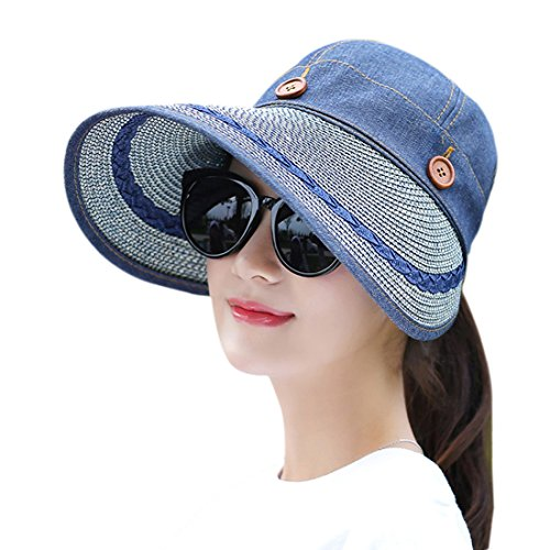 Women's Wide Brim Floppy Hat Packable Straw Sun Caps Summer UV Protection Hats with Chin Strap for Women Beach Glof Cowboy (Floppy Reversible Sun Hat)