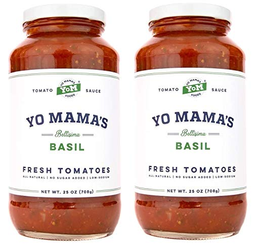 Yo Mama's Keto Friendly Tomato Basil Pasta Sauce - Pack of (2) (Best Pasta Sauce Brand)