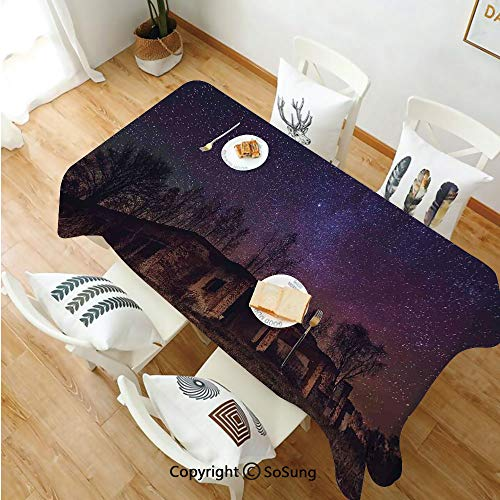 SoSung Rustic Home Decor Rectangle Polyester Tablecloth,Underground View of Rock Building with Star Sky Cosmos Galaxy Print,Dining Room Kitchen Rectangle Table Cover,60W X 120L inches,Brown Purple