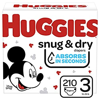 Huggies Snug & Dry Baby Diapers, Size 3, 210 Ct, One Month Supply