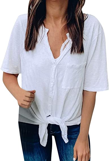 Motoco Top Camisa con Botones Blusa para Mujer con Mode De