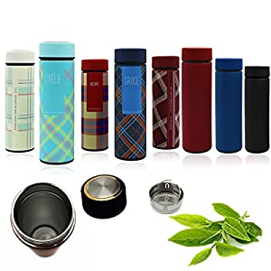 Premium Insulated Travel Water Bottle with Amazing Silk Like Matte Finish - Stainless Steel Coffee Thermos Mug and Loose Leaf Tea Infuser - Double Wall Vacuum Insulator Wide Mouth Tumbler 480ml (16oz)