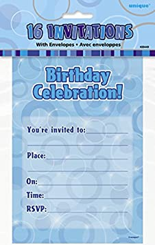Confezione da 8 Unique Party 28488-266ml Bicchieri di Carta di Compleanno Nero Brillante