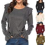 RUIVE Women's Ruffle Sweatshirt Autumn Pleated