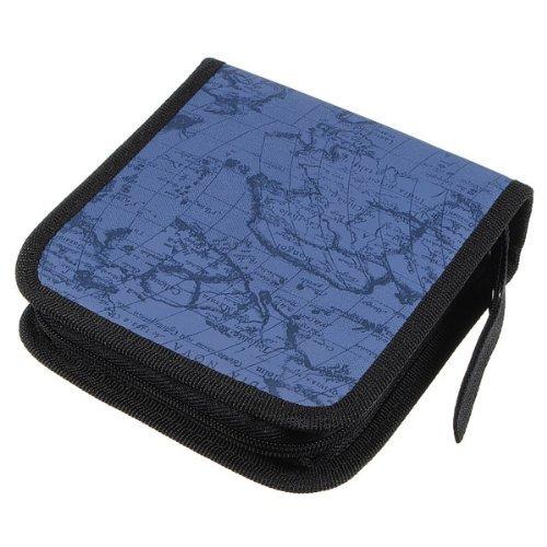 NiceWave 40 Dics CD/VCD/DVD Case Storage Organizer Wallet Holder Album Box (World Map Blue)