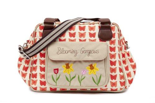 Pink Lining Blooming Gorgeous Zipper Bag, Red Butterflies
