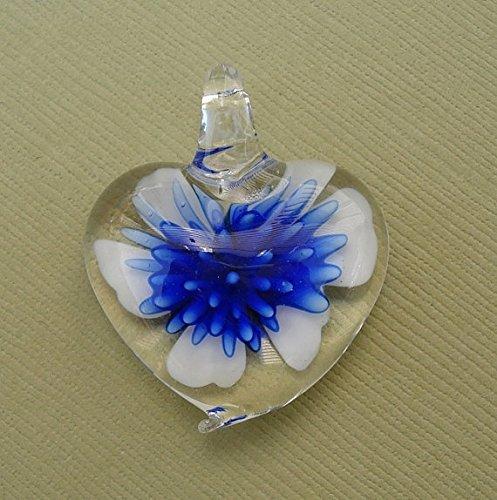 BeadsTreasure Heart Blue Lampwork Blown Glass Murano Pendant.