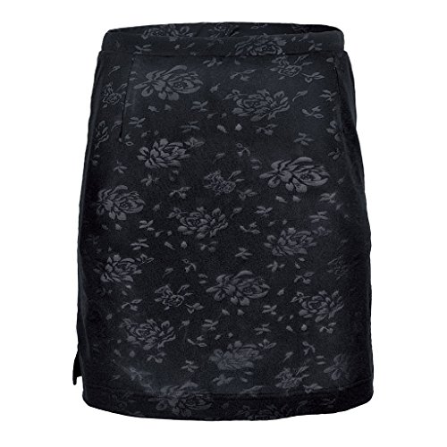(Monterey Club Ladies Dry Swing Rosy Emboss Solid Print Skort #2914 (Black, Medium))