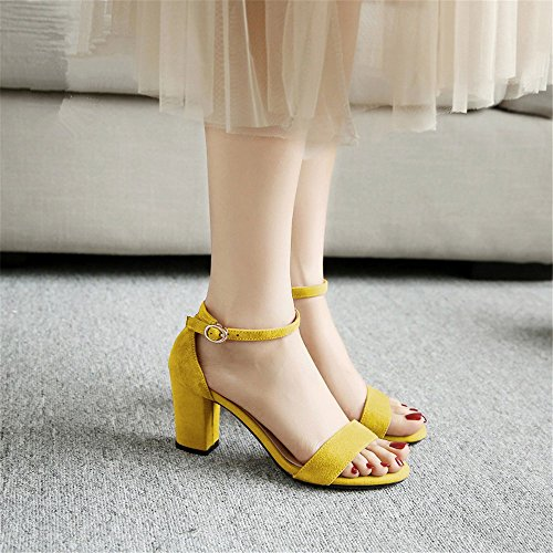 HXVU56546 Nuevo Grosor Con Sandalias Verano Mujer Tacones Altos Con El Rocío-Toe Sandalias. Yellow