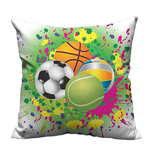 YouXianHome Print Bed Pillowcases Sports Balls Watercolors Splash Vibrant Graphic Kids Play Washable and Hypoallergenic(Double-Sided Printing) 13.5x19 inch