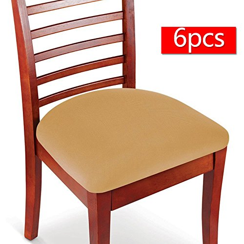 Boshen Elastic Spandex Chair Stretch Seat Covers Protector for Dining Room Kitchen Chairs Stretchable 2 4 6PCS (Beige, 6)
