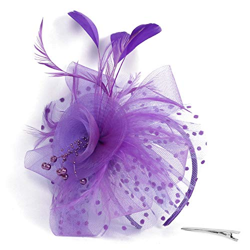 (Xflyee Fascinators Hat Flower Mesh Ribbons Feathers Tea Party Cocktail Headband for Girls and Women (Purple / 7 Inch)