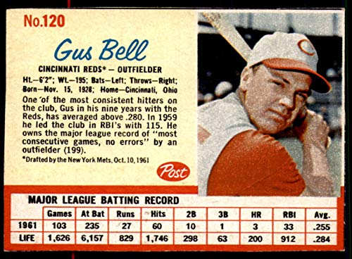 1962 Post Cereal #120 Gus Bell Near Mint+ Reds