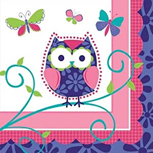 16-Count Paper Beverage Napkins, Owl Pal
