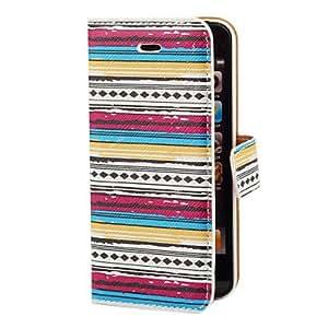 HP-Aztec colorido patrón de la raya de la PU de caso completo de cuerpo con ranura para tarjeta y el soporte para el iPhone 5/5S