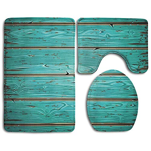 Bath Rug Set 3 Piece Bathroom Contour Rugs, Soft 2 Piece Bath Shower Mat and U-Shaped Toilet Floor Rug - Aquamarine Old Wooden Painted Wall (Teal Bathroom And Brown Rugs)