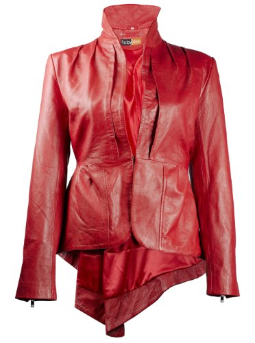 (FE FlamGlam Stylish Womens Red Leather Blazer | Single-Breasted Designer Ladies Coat Jacket)