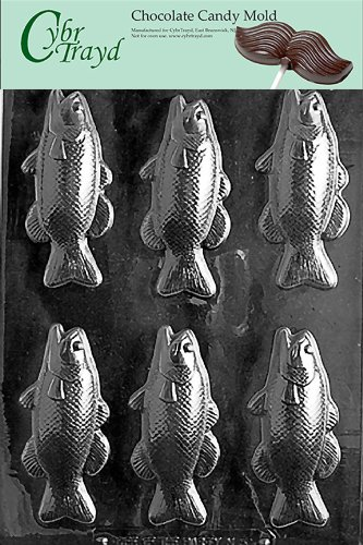 Cybrtrayd N053 Bass Fish Bars Chocolate Candy Mold with Exclusive Cybrtrayd Copyrighted Chocolate Molding -