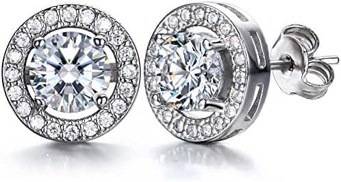 J.SHINE 18K White Gold Plated 3A 6mm Cubic Zirconia Cushion Shape Halo 925 Silver Stud Earrings for women, 1 carats, Exquisite Gift Package