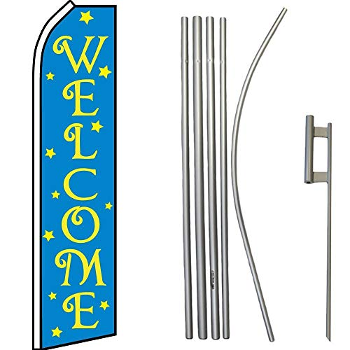 ALBATROS Welcome Blue with Stars Swooper Flag with 16ft Flagpole Kit/Ground Spike for Home and Parades, Official Party, All Weather Indoors - Bell Welcome Mickey