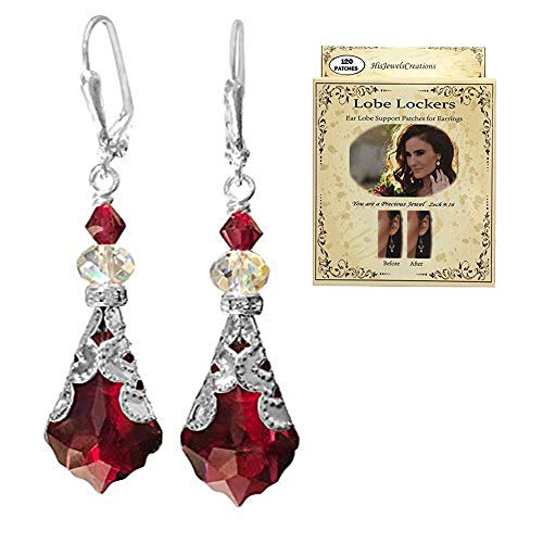 HisJewelsCreations Baroque Crystal Vintage Inspired Leverback Dangle Drop Earrings (Soft Red with Lobe - Dangling Earring Pearl Handmade