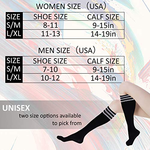 Dsource Unisex Soccer Socks Knee High Stripe Football Tube Socks 2,6,10 Pack