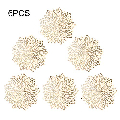 - XINdream Hollow Heat-Insulated Pad, 6PCS PVC Hibiscus Flower Openwork Table Placemat Non-Slip Waterproof Home Table Bowl Coaster Hollow Mats Decoration for Dining