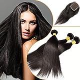 Originea TM Best 3 Bundles Filipino Virgin Hair With Silk Base Lace Straight Closure With Baby Hairs Bundle