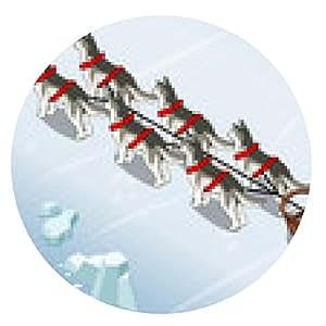 alfombrilla de ratón perros de trineo isométricas en Vista posterior en el hielo - ronda - 20cm