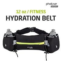 Photive HY-5 Hydration Running Belt. Includes Two 6-oz BPA-Free Leak-Proof Water Bottles