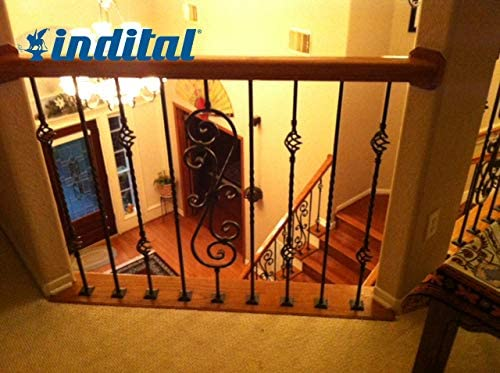 Wrought Iron Black Diameter 44 3//32 Height x 1//2 Sq Indital PC8-4-0007 Powder Coated Wrought Iron Baluster for Stairs and Railings Hammered Bar Design