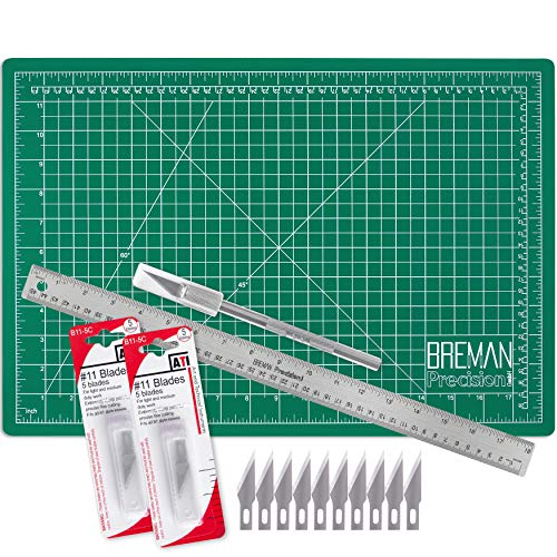 WA Portman Cutting Mat Craft Knife Precision Ruler Set I 12x18 inch Self Healing Mat I Hobby Knife I 10 Replacement Blades I 18 inch Premium Steel Ruler I for Crafts Model Kits Paper Plastic Fabric