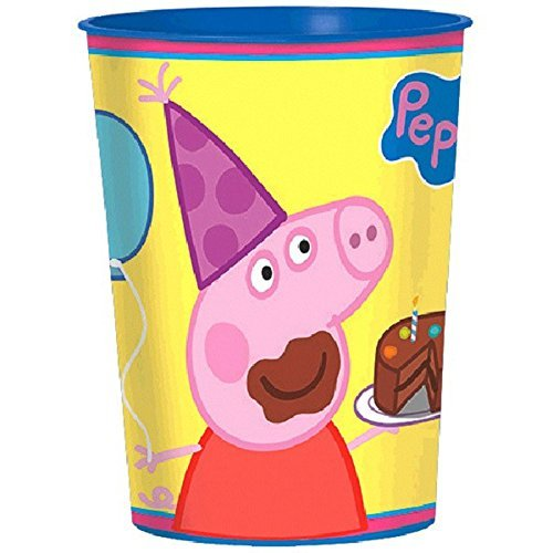 12X Peppa Pig Plastic 16 Ounce Reusable Keepsake Favor Cup ( 12 Cups ) by Amscan