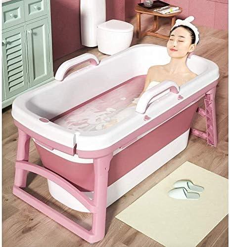 KJRJCQ シャワーストール温水SPAバスタブ、ダブルドレイン、PPとTPE素材、10キロでタブを浸漬大人の赤ちゃん幼児のためのホーム折り畳み式のバスタブ用ポータブルバスタブ、 (Color : Pink)