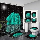 Fashion_Man 4PCS/Set Creative Rose in Water Shower