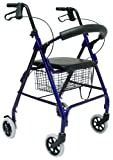 Karman Healthcare R-4600-BL Aluminum Rollator with Standard Seat Height, Blue, 6 Inches Casters