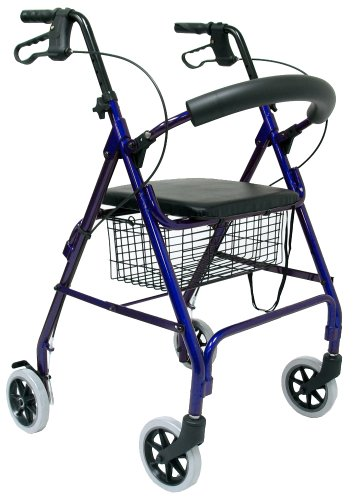 Karman Healthcare R-4600-BL Aluminum Rollator with Standard Seat Height, Blue, 6 Inches Casters by Karman Healthcare