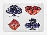 Lunarable Diamonds Bath Mat, Diamond Shaped Cards Poker Fortune Symbols with Sapphire Figures Gambling Print, Plush Bathroom Decor Mat with Non Slip Backing, 29.5 W X 17.5 W Inches, Dark Blue Red