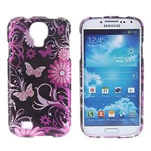 GONGXI- Flor y mariposa Caso duro del patrón para Samsung i9500 Galaxy S4