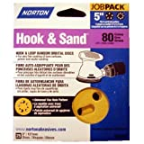 "Norton 80 Grit Hook & Sand 5"" 5 & 8 Hole Hook & Loop"