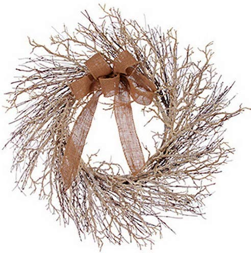 Mikash 24 Glittered Twig Artificial Hanging Wreath -Champagne | Model WRTH - 336 - Glittered Poinsettia Wreath