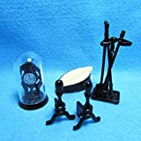 Dollhouse Miniature Fireplace Tool Set with Clock and Bellows IM - My Mini Fairy Garden Dollhouse Accessories for Outdoor or House Decor