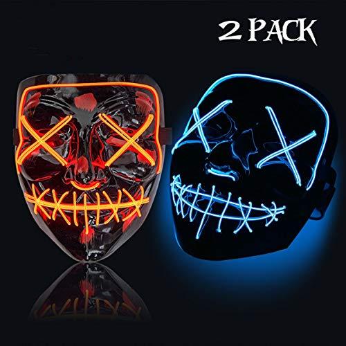 2 Faces Halloween (Trentixel 2 Pack LED Halloween Mask Halloween Mask Cosplay Led Costume Mask EL Wire Light up for Halloween Festival)