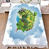 iPrint Bed Skirt Cover 3D Print,Greenery Peaceful Idyllic Country Cloudy Sky,Best Modern Style Bed Skirt for Men and Women by 59''x78.7''