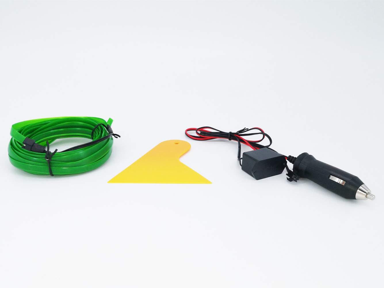 Rojo El Wire Car 3m//9ft Luz de ne/ón 12V LED Luces fr/ías L/ámparas autom/áticas flexibles de ne/ón EL Wire para decoraciones de autom/óviles de boda