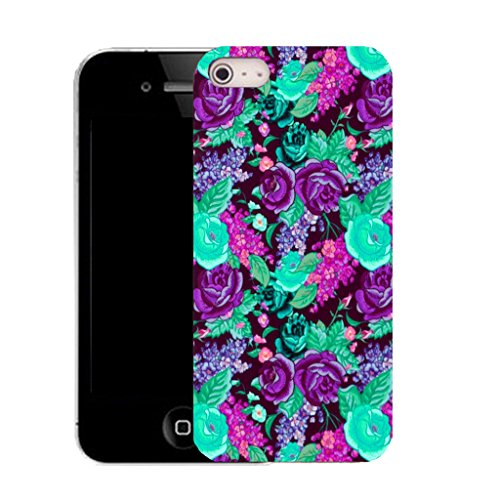 Mobile Case Mate IPhone 4 clip on Silicone Coque couverture case cover Pare-chocs + STYLET - green back yard floral pattern (SILICON)