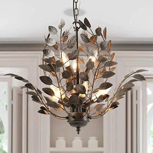 LNC Farmhouse Chandeliers for Dining Rooms and Bedroom Floral Leaves Rustic Hanging Ceiling Light Fixture, A03293