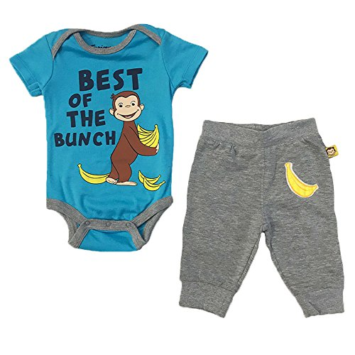- Curious George Baby Boys Best of The Bunch Creeper Set, Blue/Multi, 6M
