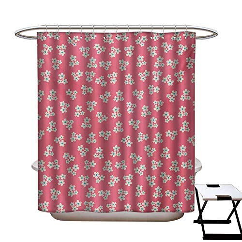 Country Home Shower Curtains Digital Printing Cute Little Daisies Bouquets Girls Bedroom Desgin Freshness Pink Backdrop Satin Fabric Bathroom Washable W72 x L72 Teal Pink White
